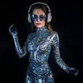 Sexy Cool Woman Posing And Dancing In A Metallic Silver Catsuit In A Disco Setting Ryr50dpbl  Wl